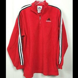 Adidas PLUSH fleece pullover 1/4 zip Red Size XL